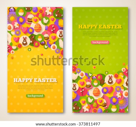 Easter Vertical Banners Set. Vector illustration. Flat Easter Icons in Circles on Textured Backdrop. Spring Holiday Concept Symbols. Egg Hunt Party Invitation. Place for your text.  - stock vector