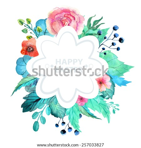 Easter watercolor natural illustration with flower sticker for beautiful Holiday design - stock vector