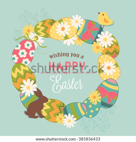 Easter Wreath - stock vector