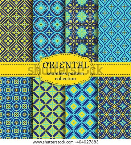 Eastern seamless patterns. Set in blue, indigo and yellow colors. Colorful collection of stylized oriental ornaments. Trendy abstract backgrounds. Vector illustration. - stock vector