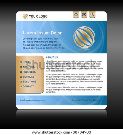 Easy customizable blue and gold website template layout - stock vector