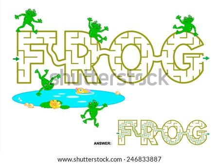 Easy english language word maze game for kids - FROG. Answers included.  - stock vector