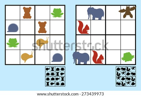 Easy sudoku puzzle with colorful icons of animals such as elephants and bears suitable for primary school or recreation for children - stock vector