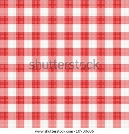 Easy tilable (you see 4 tiles) red gingham repeat pattern (print, seamless background, wallpaper) with fabric texture ( for high res JPEG or TIFF see image 10929091 )  - stock vector