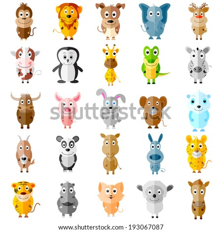 easy to edit vector illustration of animal icons - stock vector