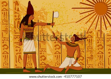 easy to edit vector illustration of antique Egyptian papyrus and hieroglyph background - stock vector