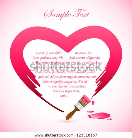 easy to edit vector illustration of brush painting heart shape - stock vector