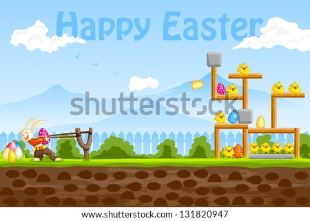 easy to edit vector illustration of bunny playing with Easter egg - stock vector