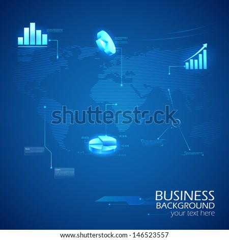 easy to edit vector illustration of business background with graph - stock vector
