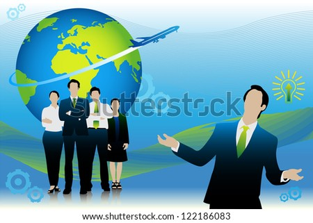 easy to edit vector illustration of business people standing in front of globe - stock vector