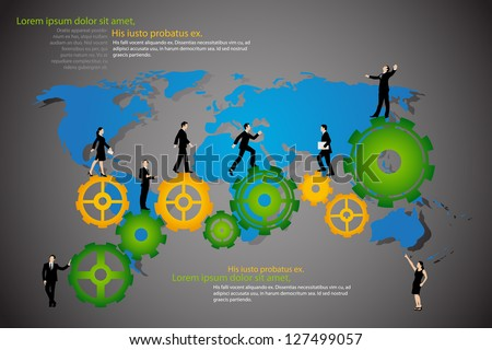 easy to edit vector illustration of business people walking on cog wheel - stock vector