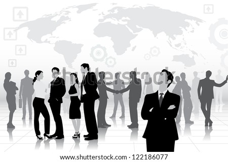 easy to edit vector illustration of business team - stock vector