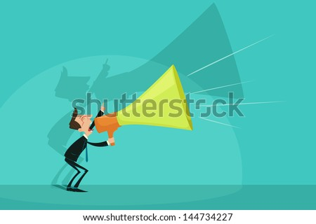easy to edit vector illustration of businessman announcing through megaphone - stock vector