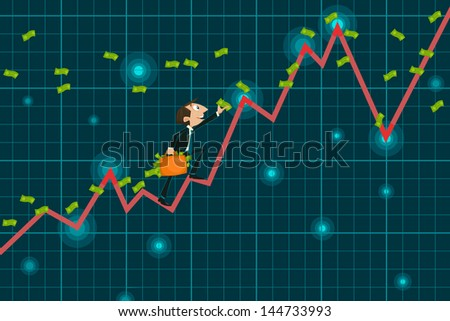 easy to edit vector illustration of businessman catching money climbing upward graph - stock vector