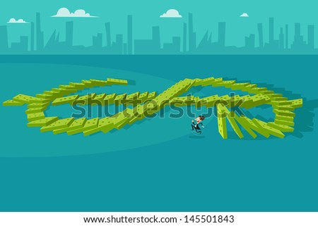 easy to edit vector illustration of businessman escaping from falling dollar dominos - stock vector