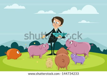 easy to edit vector illustration of businessman pouring coin into different piggybank showing portfolio diversification - stock vector