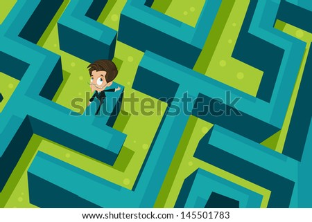 easy to edit vector illustration of businessman walking on puzzle maze - stock vector