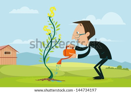 easy to edit vector illustration of businessman watering dollar plant - stock vector