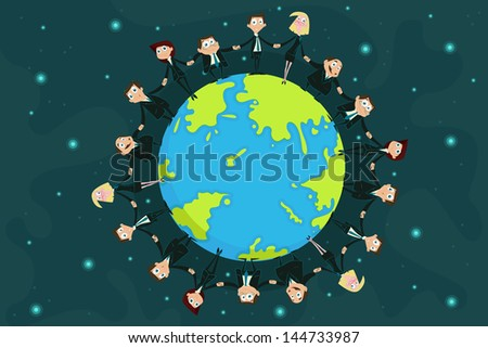 easy to edit vector illustration of businessmen around Earth - stock vector