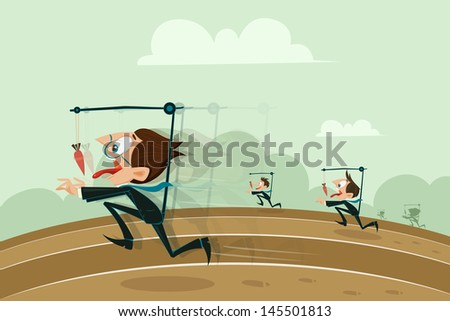easy to edit vector illustration of businessmen running with hanging carrot in motivation concept - stock vector