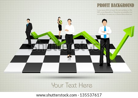 easy to edit vector illustration of businesspeople with arrow standing on chessboard - stock vector