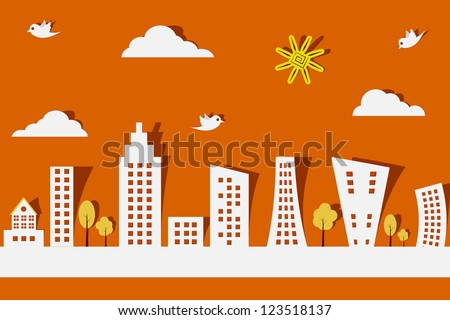 easy to edit vector illustration of cityscape made f paper - stock vector