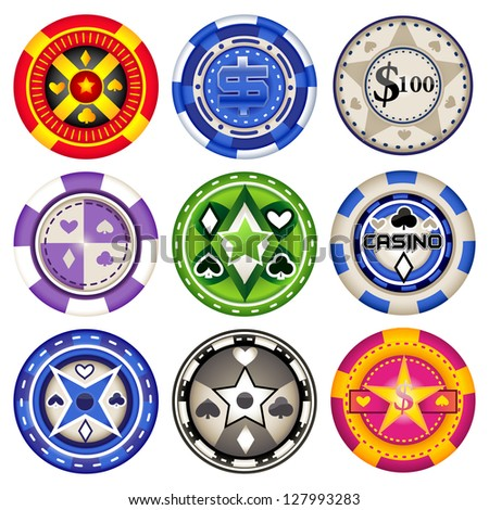 easy to edit vector illustration of collection of casino chips - stock vector