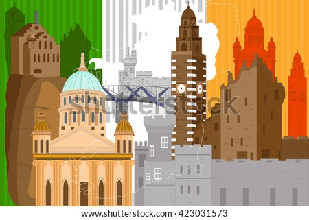 easy to edit vector illustration of colorful collage of Ireland - stock vector