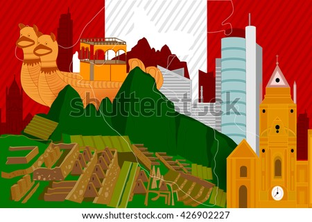 easy to edit vector illustration of colorful collage of Peru - stock vector