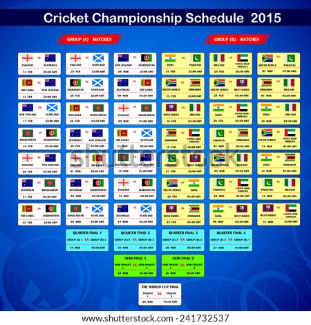 easy to edit vector illustration of Cricket 2015 match schedule - stock vector