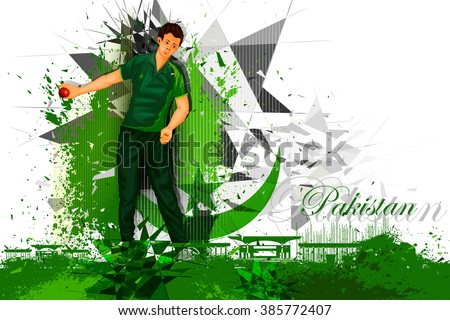 easy to edit vector illustration of cricket player from Pakistan - stock vector