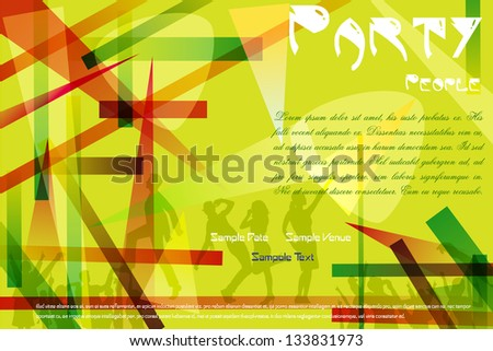 easy to edit vector illustration of dancing people on abstract background - stock vector
