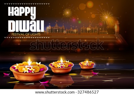 easy to edit vector illustration of diya with flower for Happy Diwali background - stock vector