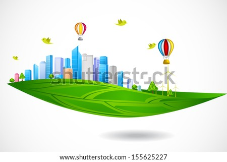 easy to edit vector illustration of eco friendly city - stock vector