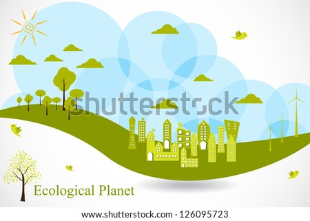 easy to edit vector illustration of ecofriendly city - stock vector