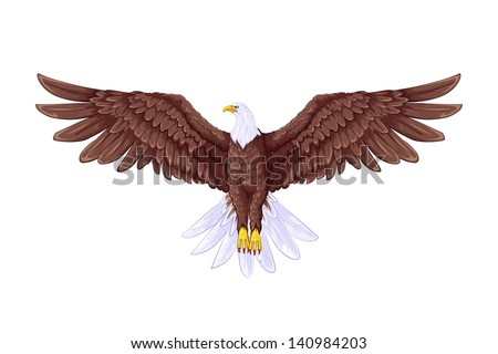 easy to edit vector illustration of flying eagle - stock vector
