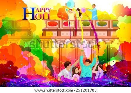 easy to edit vector illustration of friends enjoying Holi - stock vector