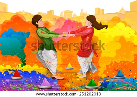 easy to edit vector illustration of friends enjoying Holi - stock vector