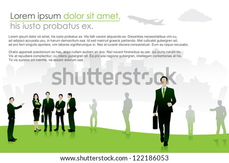 easy to edit vector illustration of group of business people - stock vector