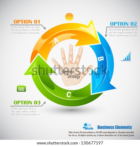 easy to edit vector illustration of hand in arrow cycle - stock vector