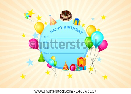 easy to edit vector illustration of Happy Birthday Invitation Card - stock vector