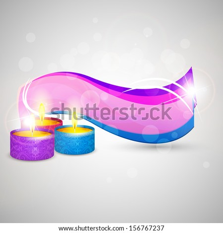 easy to edit vector illustration of Happy Diwali background with colorful diya - stock vector