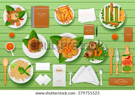 easy to edit vector illustration of identity branding mockup for Hotel and Restaurant - stock vector