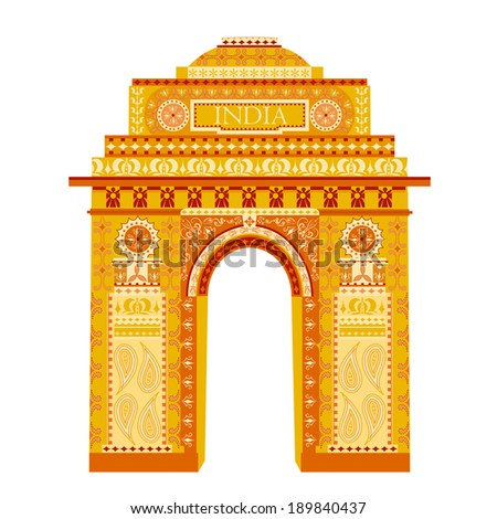 easy to edit vector illustration of India Gate in floral design - stock vector