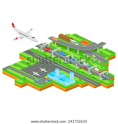 easy to edit vector illustration of isometric transportation system of city - stock vector