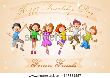 easy to edit vector illustration of kids celebrating Friendship Day - stock vector