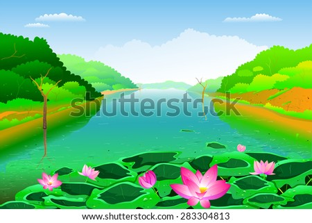 easy to edit vector illustration of lake landscape - stock vector