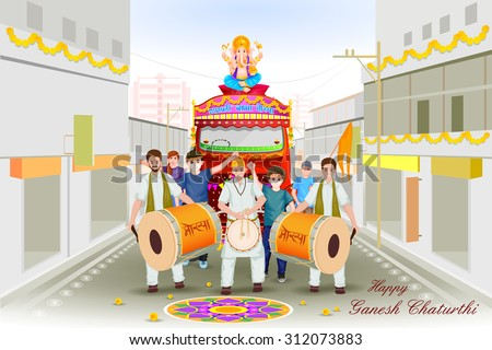 easy to edit vector illustration of Lord Ganesha procession for Ganesh Chaturthi with message Ganpati Bappa Morya (My Lord Ganesha) - stock vector