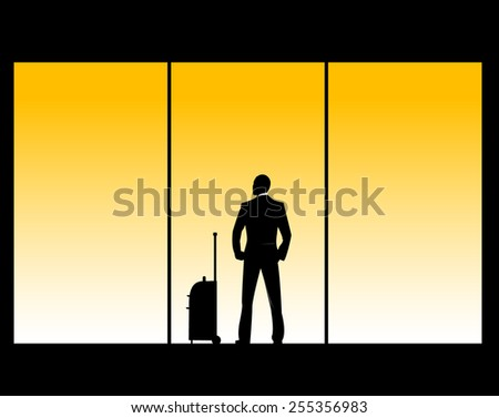 easy to edit vector illustration of man in airport lounge - stock vector