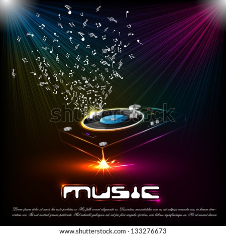 easy to edit vector illustration of musical notes coming out of turntable - stock vector